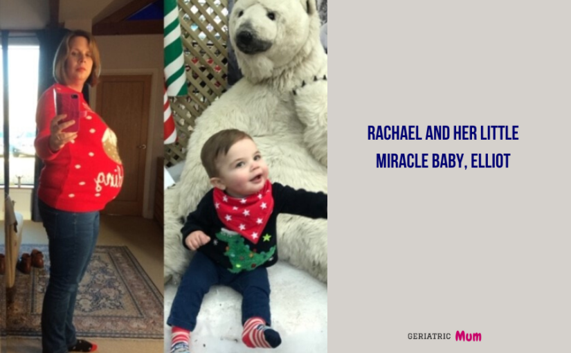 Rachel pregnant on the left and a photo of son on the rightot